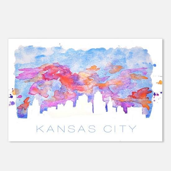 Kansas City Skyline Watercolor Postcards (Package