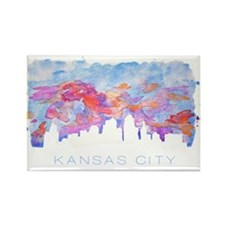 Kansas City Skyline Watercolor Magnets