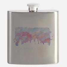 Kansas City Skyline Watercolor Flask