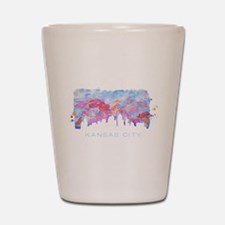 Kansas City Skyline Watercolor Shot Glass