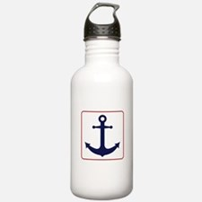 Nautical Anchor - White Blue and Red Water Bottle