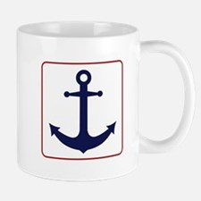 Nautical Anchor - White Blue and Red Mugs