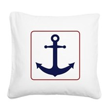 Nautical Anchor - White Blue and Red Square Canvas