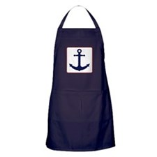 Nautical Anchor - White Blue and Red Apron (dark)