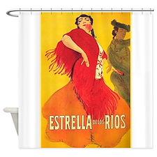 Spain, Flamenco Dancers, Vintage Poster Shower Cur