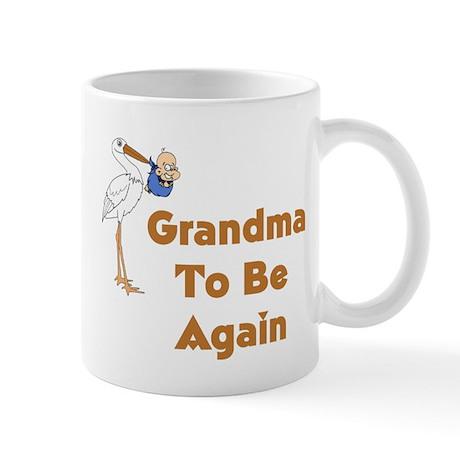 Stork Grandma To Be Again Mugs