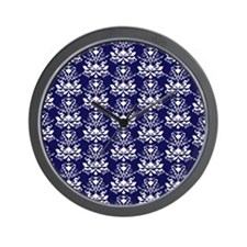 Elegant Damask Pattern Navy Blue and White Wall Cl