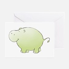 Green Hippo Greeting Cards (Pk of 10)