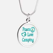 Peace Love Camping Silver Round Necklace