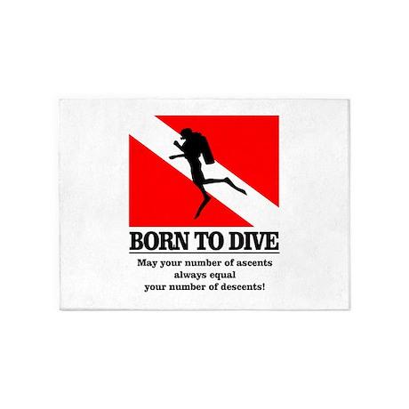 Born To Dive (Descent-Ascent) 5'x7'Area Rug