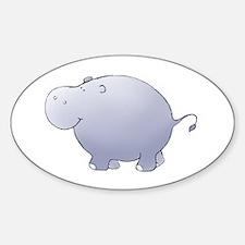 Purple Hippo Oval Decal