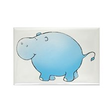 Turquoise Hippo Rectangle Magnet