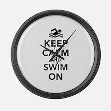 Keep calm and swim on Large Wall Clock