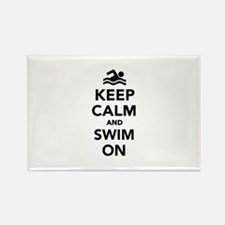 Keep calm and swim on Rectangle Magnet (100 pack)