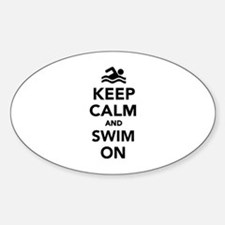 Keep calm and swim on Sticker (Oval)