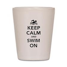 Keep calm and swim on Shot Glass