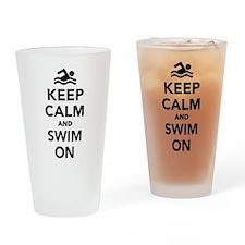Keep calm and swim on Drinking Glass