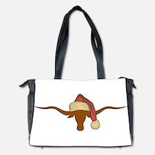 Longhorn Steer with Santa Hat Diaper Bag
