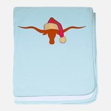 Longhorn Steer with Santa Hat baby blanket