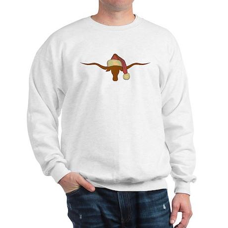 Longhorn Steer with Santa Hat Sweatshirt
