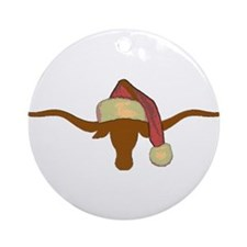 Longhorn Steer with Santa Hat Ornament (Round)