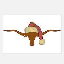 Longhorn Steer with Santa Hat Postcards (Package o