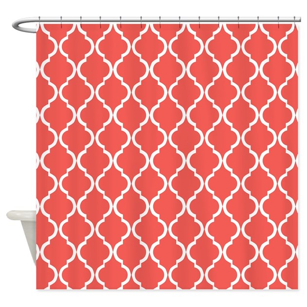 Coral Pink Moroccan Lattice Shower Curtain by ...