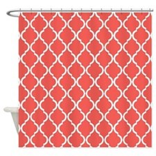 Coral Pink Moroccan Lattice Shower Curtain