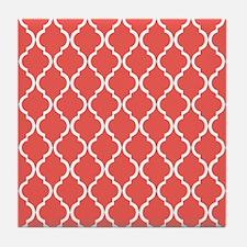 Coral Pink Moroccan Lattice Tile Coaster