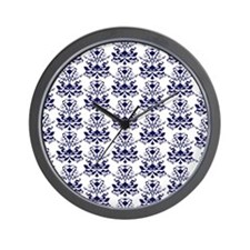 Elegant Damask Pattern White and Navy Blue Wall Cl