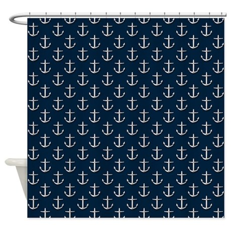 Navy Blue Silver Anchor Pattern Shower Curtain By
