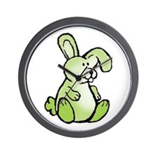 Green Bunny Rabbit Wall Clock