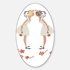 """Lesbian Wedding Couple"" Oval Decal"