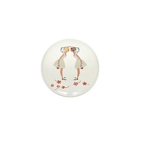 """Lesbian Wedding Couple"" Mini Button (10 pack)"