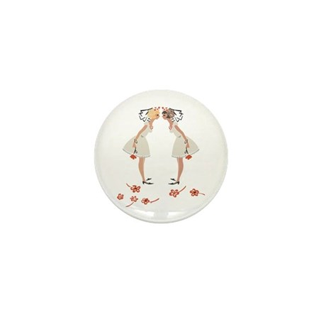 """Lesbian Wedding Couple"" Mini Button"