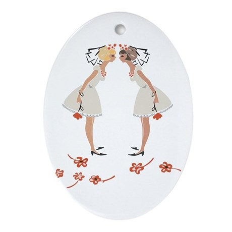 """Lesbian Wedding Couple"" Oval Ornament"