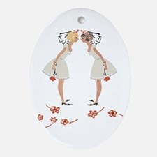 """Lesbian Wedding Couple"" Oval Ornament"