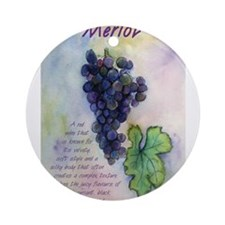 Merlot Wine Painting Ornament (Round)