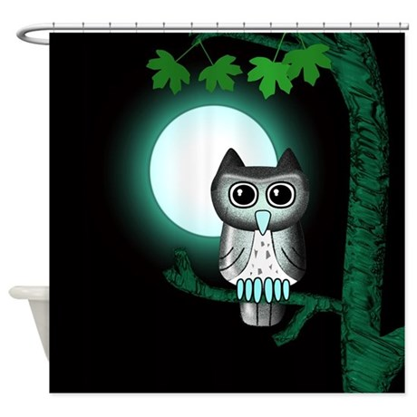 Green Owl Shower Curtain By Lwoodcritters