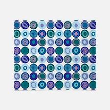 Purple & Blue Swirly Dot Pattern Throw Blanket