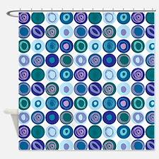 Purple & Blue Swirly Dot Pattern Shower Curtain