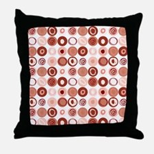 Dusty Rose Swirly Dot Pattern Throw Pillow