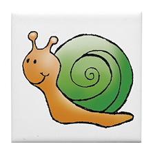 Orange and Green Snail Tile Coaster