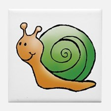 Orange and Green Snail Tile Coaster
