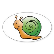 Orange and Green Snail Oval Decal