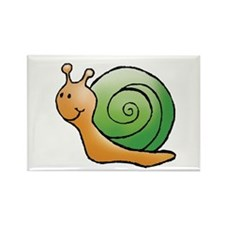 Orange and Green Snail Rectangle Magnet