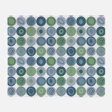 Green and Blue Swirly Dot Pattern Throw Blanket