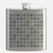 Green and Blue Swirly Dot Pattern Flask