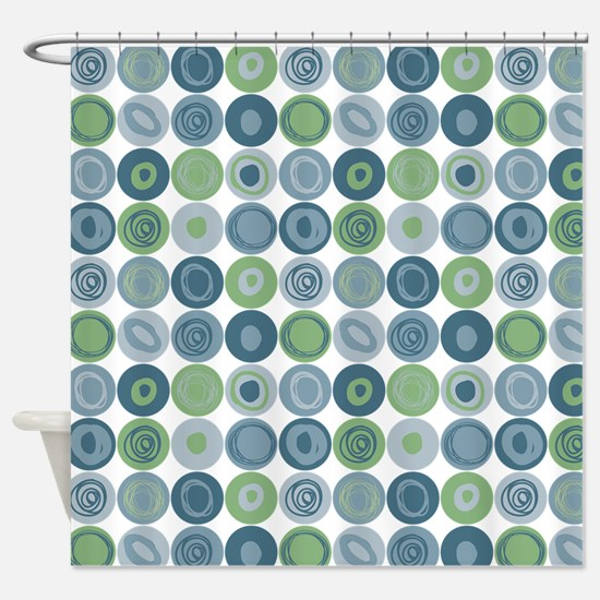 Green and Blue Swirly Dot Pattern Shower Curtain