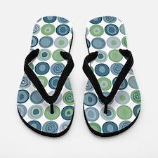 Green and Blue Swirly Dot Pattern Flip Flops